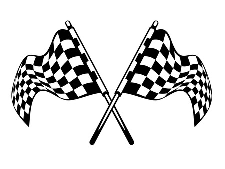 Waving crossed black and white checkered flags used in motor sport isolated on white for heraldry design