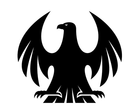 Proud eagle black and white silhouette with raised wings and head turned to the left for heraldry design