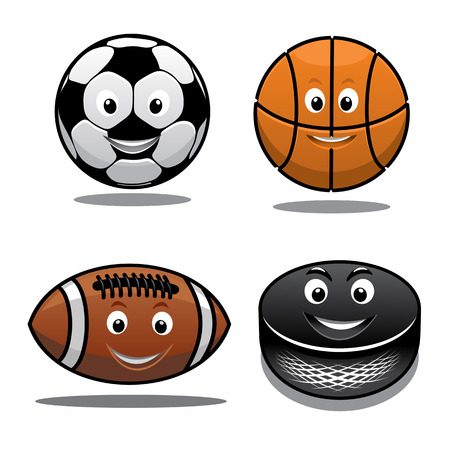 Set of sports equipment icons with a happy smiling soccer ball, basketball, football and hockey puck in cartoon style Vector