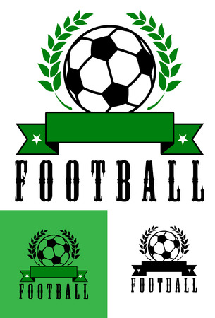 Set of football or soccer emblems with a foliate wreath enclosing a soccer ball over a blank ribbon banner over the word Football in three color variations Vector