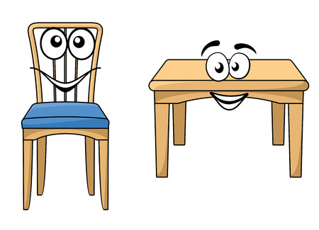 Cute cartoon wooden furniture with a happy smiling table and dining chair with a little blue cushion isolated on white