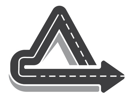 doubling: Looping triangular tarred highway doubling back on itself with an arrow pointer and central markings, vector illustration isolated on white