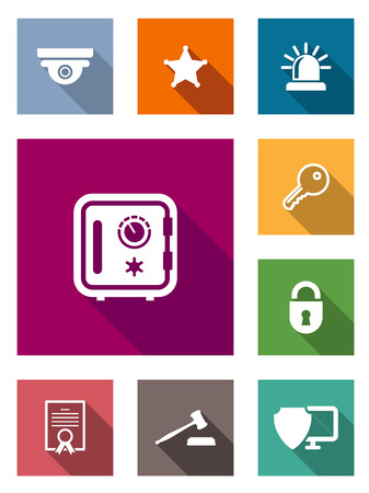 Flat safety and security icons on colorful web buttons with a lock, padlock, sheriffs star,police light, key, judges gavel, certificate and shield on a monitor Vector