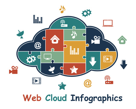 Web cloud with media infographics depicting cloud computing with various multimedia and connectivity icons showing central data storage and accessibility Vector