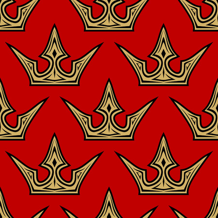 Seamless pattern of golden crowns on a royal red background in square format suitable for wallpaper, tiles and fabric design Vector