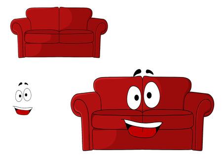 red couch: Divertente fumetto imbottito divano rosso, divano o divano con un grande sorriso felice isolato su bianco