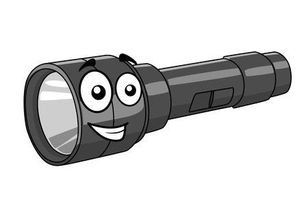portative: Grey portable handheld cartoon torch with a happy smile isolated on white