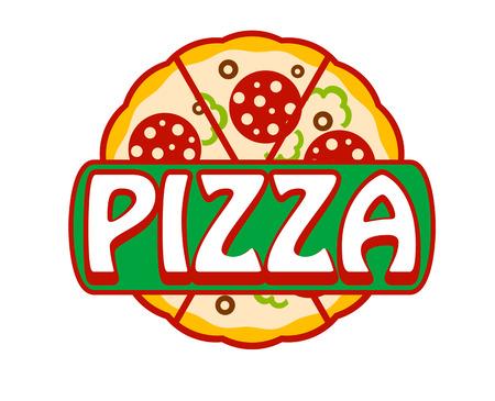 ピザ バナー、アイコンまたはを白で隔離される全体焼きたてのペパロニやサラミ ピザ - ピザ - 単語と記号