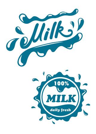 Verse melk symbolen en emblemen met spatten voor drank ontwerp