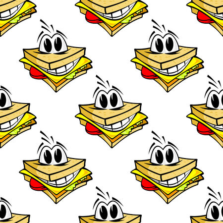 ham sandwich: Happy cartoon cheese sandwich seamless pattern with with a big toothy grin and protruding eyes, square format for fast food design