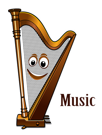 Happy wooden cartoon harp with a smiling face in a Music concept with the word - Music alongside, isolated on white Vector
