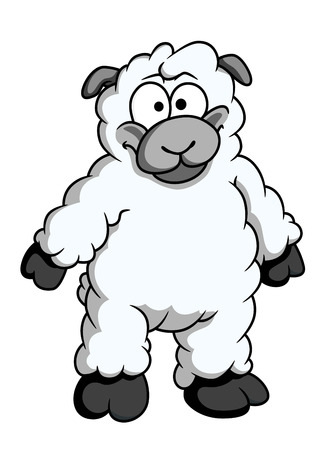 baa: Funny woolly cartoon sheep standing up on its hind legs looking at the viewer isolated on white