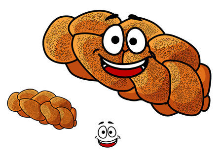 freshly baked: Cartoon loaf of freshly baked gourmet plaited bread with poppy seed and a happy smiling face isolated on white