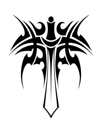 Tribal tattoo met ridder zwaard op een witte achtergrond voor religieus symbool of embleem Stock Illustratie