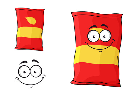 packets: Cartoon funny packet of chips or crisps isolated on white for fastfood design
