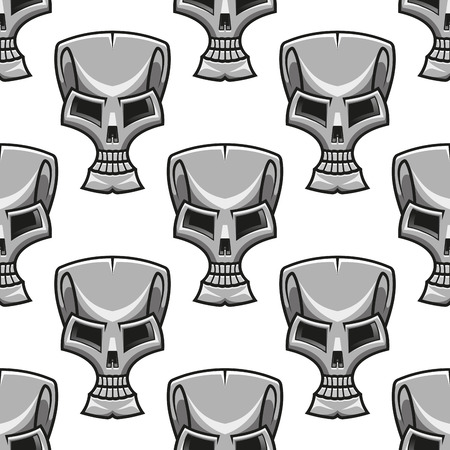 Seamless background pattern of a stylized modern silver skull with a metallic effect Vector
