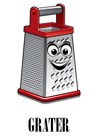 stainless steel kitchen: Cartoon stainless steel kitchen grater with red trim and a big happy smile, vector illustration isolated on white
