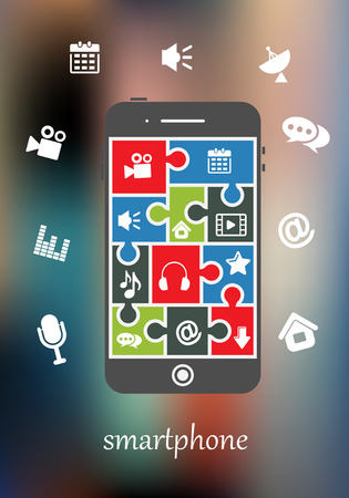 capabilities: Smart phone display with multimedia icons for mail, speech, movie, music, photography, download, messaging, calendar and audio depicting its many functions and capabilities Illustration
