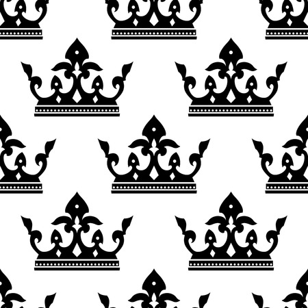 Seamless pattern of a dainty heraldic royal crown silhouettes in square format for wallpaper or textile design Vector