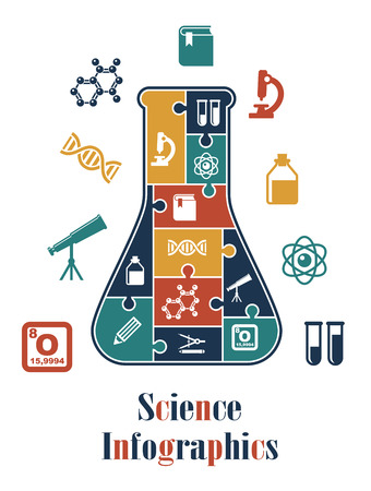 Science infographics with a conical laboratory flask containing numerous interlocked icons including a microscope, telescope, test tubes, DNA, chemical solution, atom, and atomic formula Ilustracja