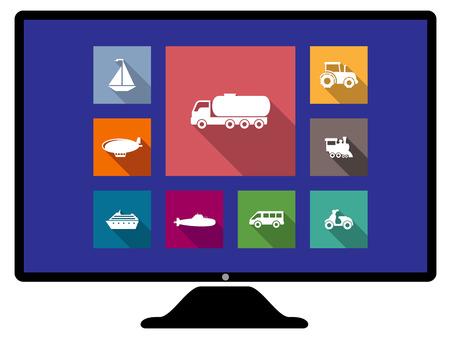 blimp: Conjunto de iconos de transporte de planos en un monitor de ordenador de botones de colores web, con un velero, cami�n, tractor, dirigible no r�gido, motor del tren, furgoneta, moto, barco de crucero y un globo de aire caliente Vectores