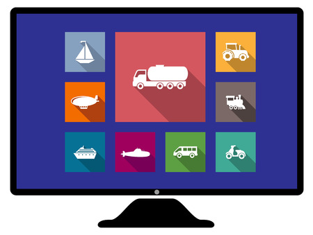 blimp: Set of flat transport icons on a computer monitor on colorful web buttons, with a sailboat, truck, tractor, blimp, train engine, van, scooter, cruise liner and hot air balloon