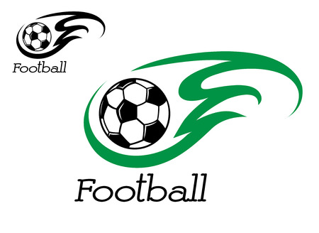 Soccer ball with green flame for sport symbol or emblem Vector