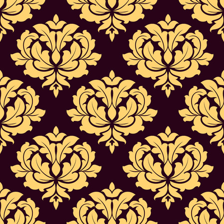 Pretty gold and brown damask style seamless pattern with foliate arabesque motifs in square format suitable for fabric or background design Vector