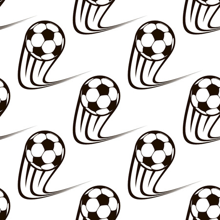 Seamless black and white background pattern of zooming soccer balls with curved speed trails