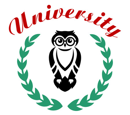 enclosing: University icon or emblem with a foliate wreath enclosing a wise old owl with the text  in red above Illustration