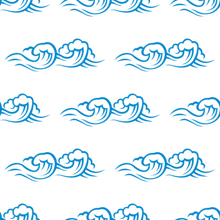 spume: Seamless pattern of blue and white cresting ocean waves topped with foam in square format suitable for wallpaper or fabric design Illustration