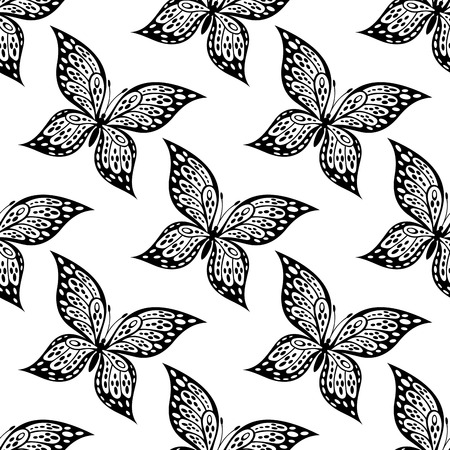 outspread: Seamless pattern of  beautiful butterfly with outspread wings in black and white suitable for fabric or wallpaper design Illustration
