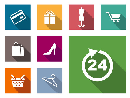 gift cart: Flat shopping icons on colorful web buttons including a bank card, gift, dressmakers dummy, cart, bags, shoes, basket , hanger and 24 hour sign Illustration