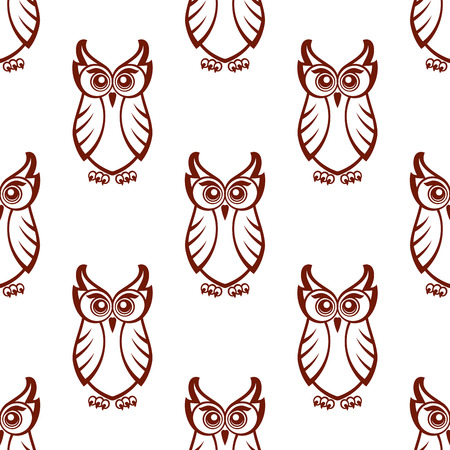 Seamless brown and white background pattern of a wise old owl with big eyes in square format suitable for wallpaper or fabric design Vector