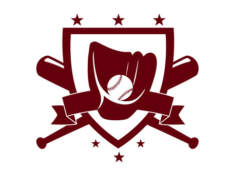 enclosing: Baseball championship emblem with crossed bats behind a shield enclosing a glove and ball in a dark brown silhouette on white