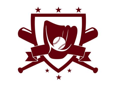 guante de beisbol: Emblema del campeonato de béisbol con palos cruzados detrás de un escudo que encierran un guante y pelota en una silueta de color marrón oscuro sobre fondo blanco