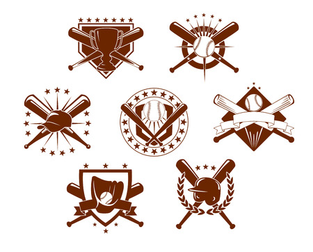 at bat: Set of seven different baseball emblems or icons depicting crossed bats with a trophy, glove, helmet, baseball with stars and shields