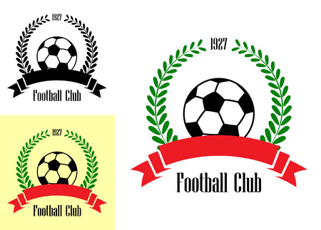 enclosing: Three football club emblems with a wreath enclosing a football or soccer ball over a blank ribbon banner in three different color variations isolated on background
