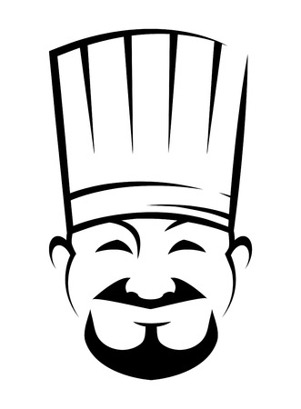 Black and white sketch of a smiling chinese chef with a goatee beard wearing a traditional white toque Vector