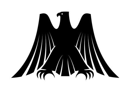 Black silhouette of an imperial eagle with long trailing wing feathers and his wings raised isolated on white for heraldic design Vector