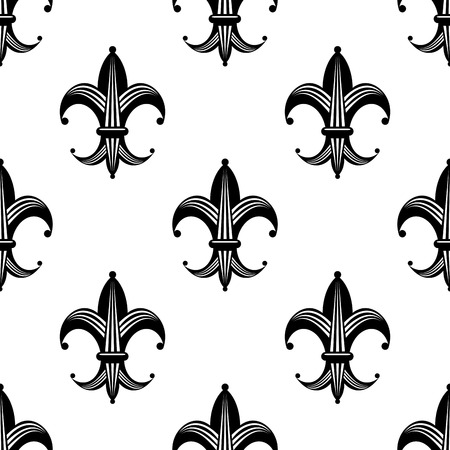 lys: Seamless black and white stylized fleur de lys pattern with an ornate repeat motif in square format suitable for heraldic, fabric and wallpaper design