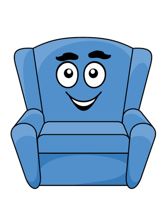 Comfortable upholstered blue armchair with a happy smiling face, cartoon illustration isolated on white Illustration