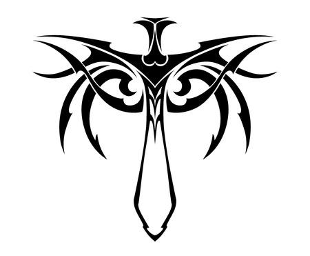 Tribal zwaard met decoraties voor tatoeage of godsdienstig ontwerp