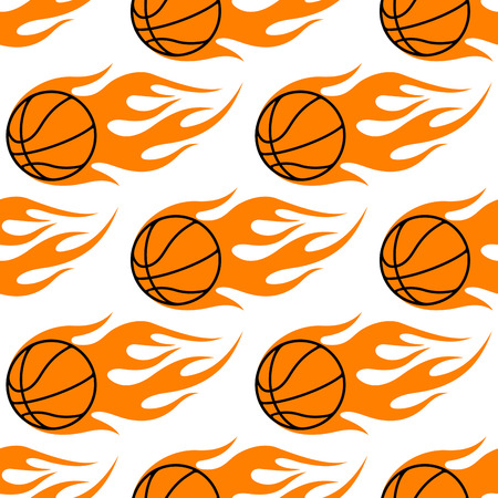 basket ball: Flaming orange basketballs seamless pattern with a repeat motif in square format for sports design