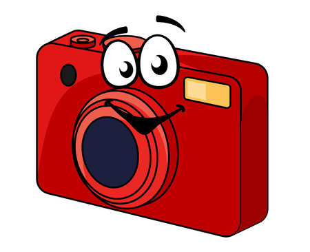 red point: Colorful red point and shoot compact camera with a happy smiling face, cartoon illustration isolated on white