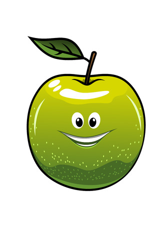 Healthy fresh green cartoon apple with a single leaf and happy smiling face, vector illustration isolated on white