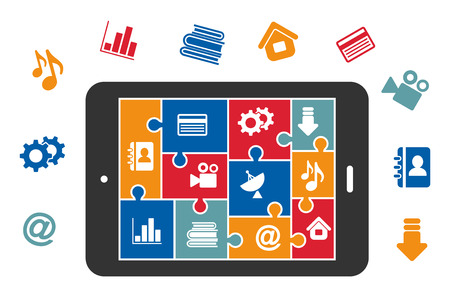 video camera icon: Multimedia icons in puzzle construction on tablet screen for media technology design