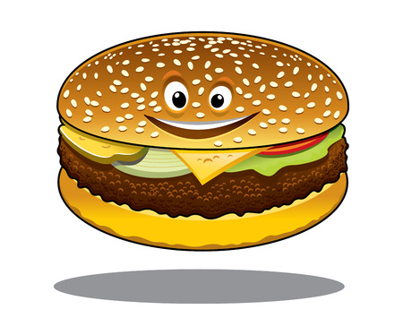 patty: Cartoon cheeseburger with a happy smile and a ground beef patty, melted cheese, lettuce and tomato on a sesame bun isolated on white