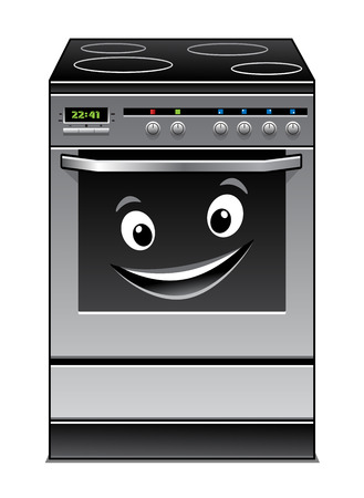 furnace: Fun modern stove kitchen appliance with a happy smiling face in the glass door