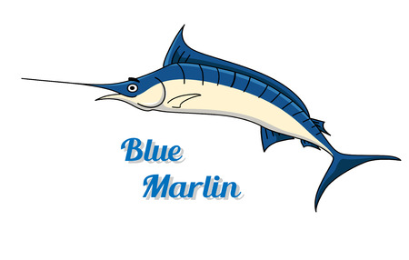 Blue marlin fishing icon with a graceful side view of the fish and the text - Blue Marlin - below Vector